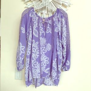 Hot in Hollywood Lilac Floral Lace Blouse Top 1X